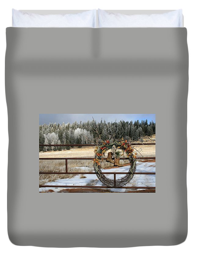 Cowboy Boots Duvet Cover featuring the photograph These Boots Were Made For Walking by Judithann O'Toole
