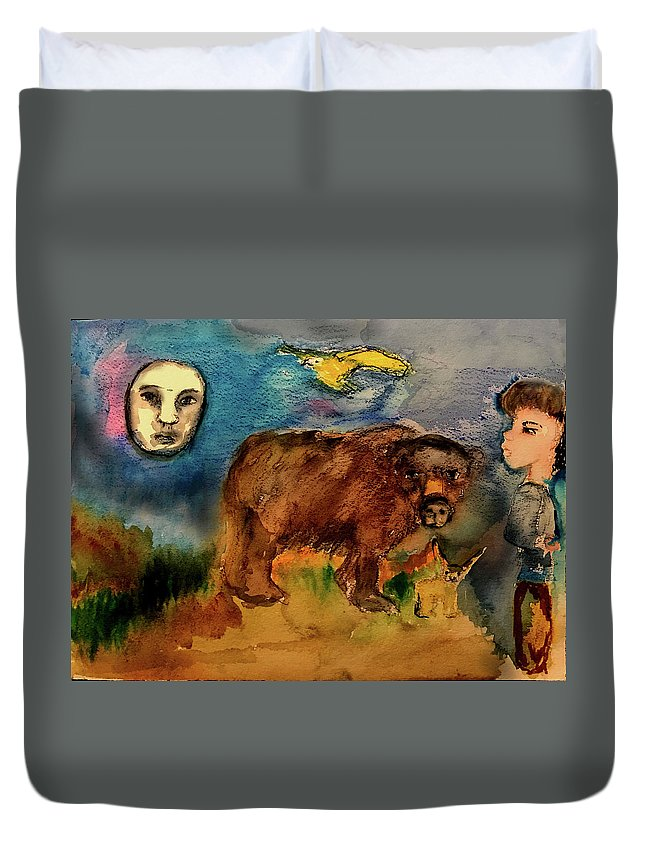 Bear Duvet Cover featuring the painting These Things by Cynthia Richards