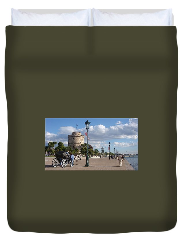 Thessaloniki Duvet Cover featuring the photograph Thessaloniki City by Aleks Findikian