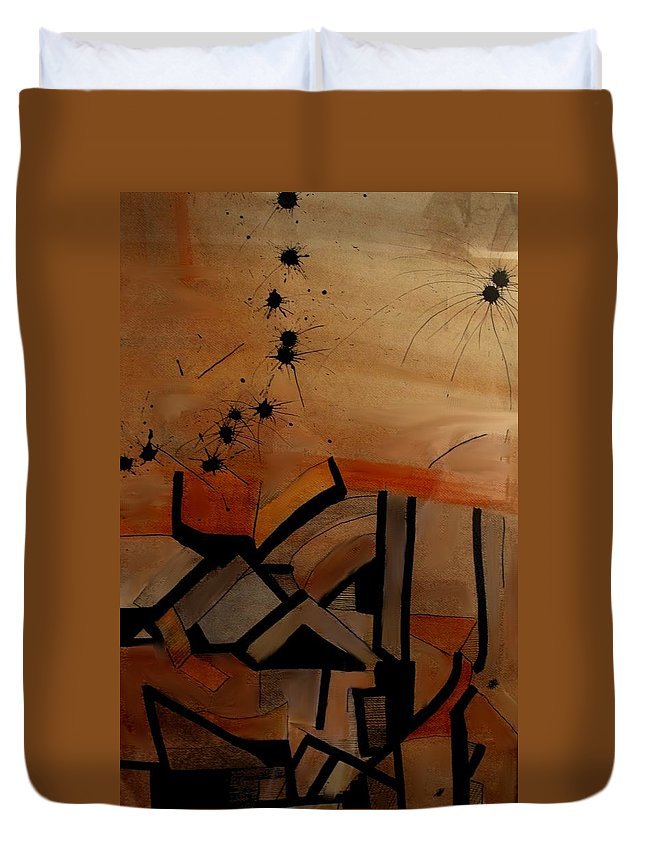 Abstract Duvet Cover featuring the drawing They Came From Afar by Ian MacDonald