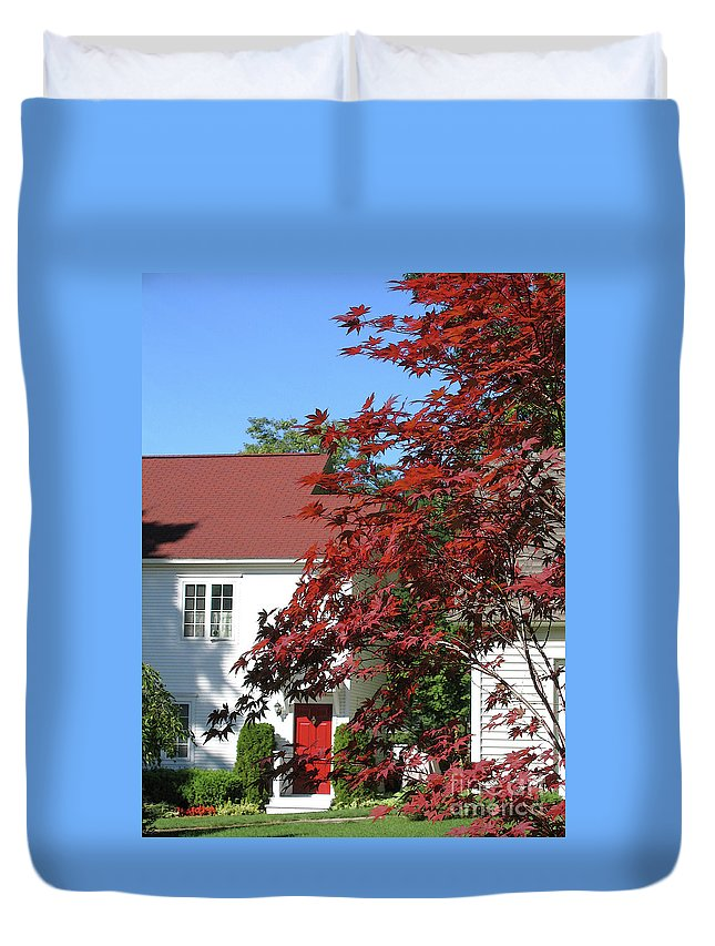 Red Duvet Cover featuring the photograph They Like Red by Ann Horn