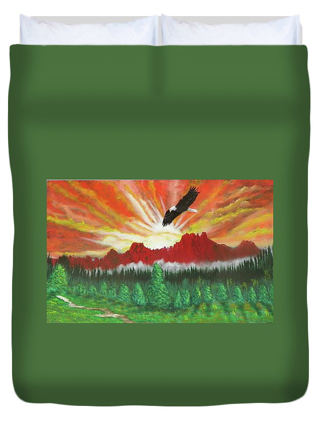 Acrylic Duvet Cover featuring the painting They That Wait Upon The Lord  Isa 40 31 by Laurie Kidd