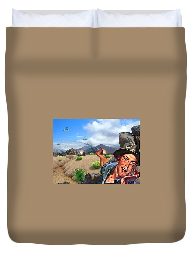 Landscape Duvet Cover featuring the digital art They're Here by Snake Jagger