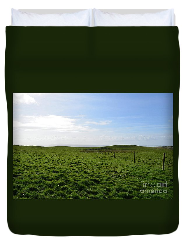 Hills Duvet Cover featuring the photograph Thick Grass Field Abutting The Cliff's Of Moher In Ireland by DejaVu Designs