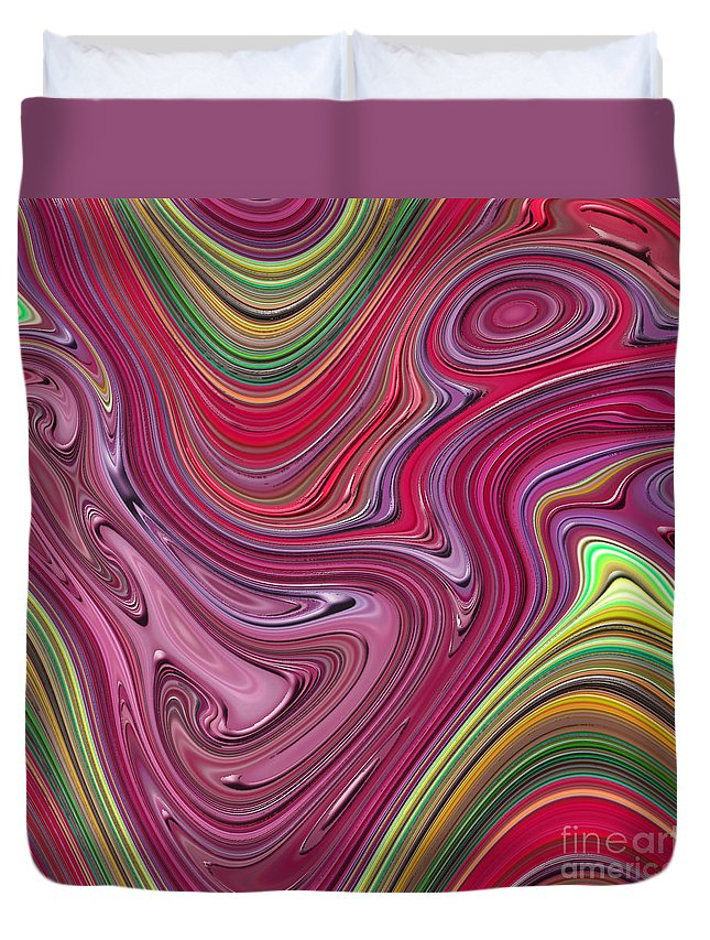 Colorful Duvet Cover featuring the digital art Thick Paint Abstract by Melissa A Benson