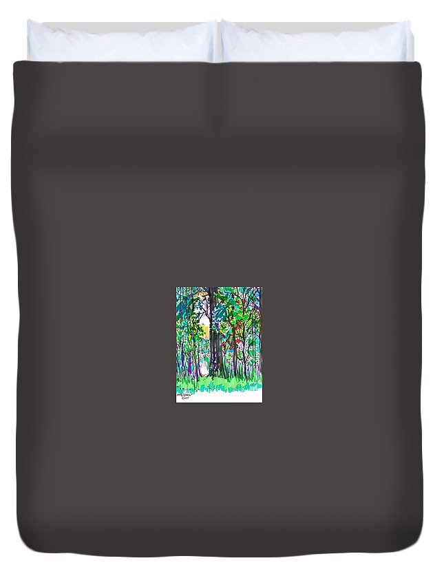 Forest Duvet Cover featuring the drawing Thicket by Seth Weaver