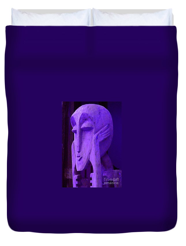 Head Duvet Cover featuring the photograph Think About It by Debbi Granruth