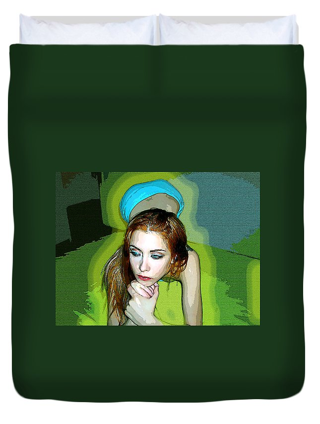 Women Duvet Cover featuring the photograph Thinking by Francisco Colon