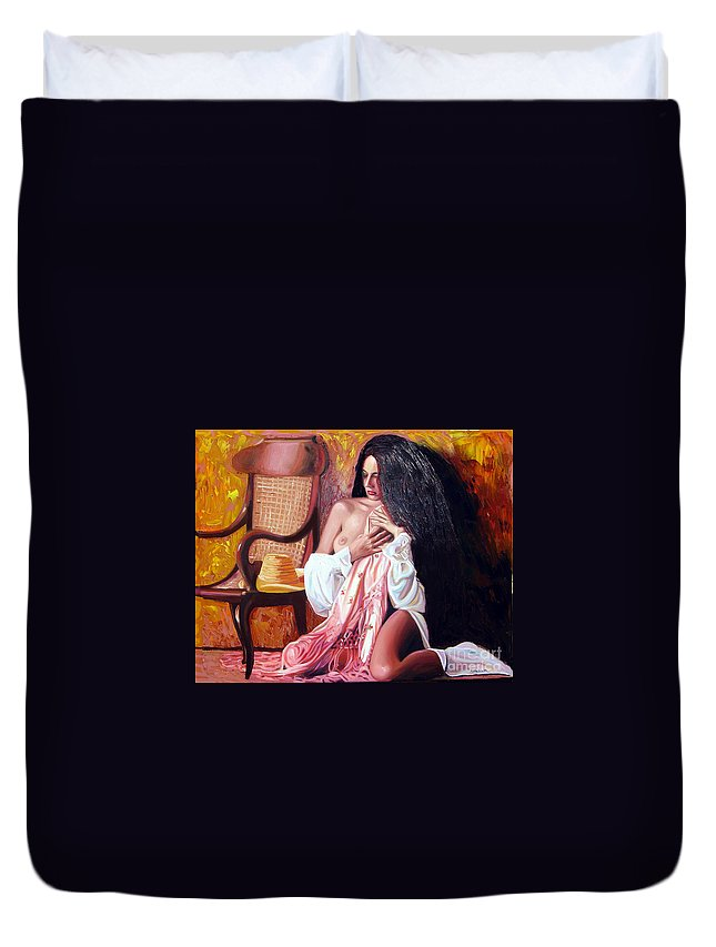 Cuba Duvet Cover featuring the painting Thinking by Jose Manuel Abraham