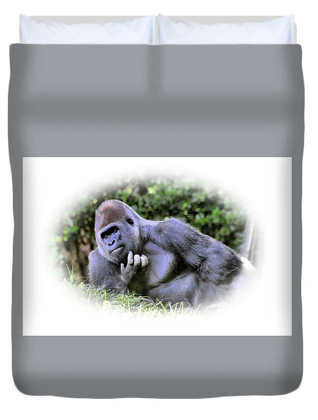 Gorilla Duvet Cover featuring the photograph Thinking by Mike Fairchild