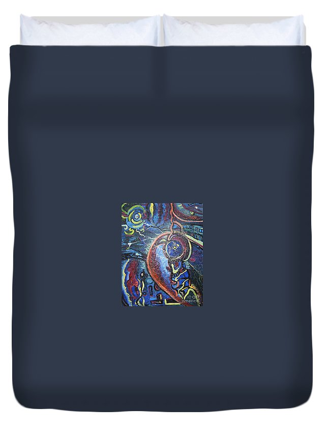 Abstract Contemporary Home Blue Oil Canvas Board Duvet Cover featuring the painting Thinking Of Home by Seon-Jeong Kim
