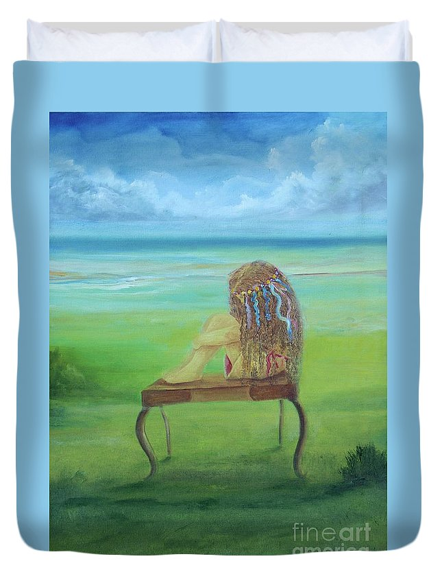 Alicia Maury Prints Duvet Cover featuring the painting Thinking Of You by Alicia Maury