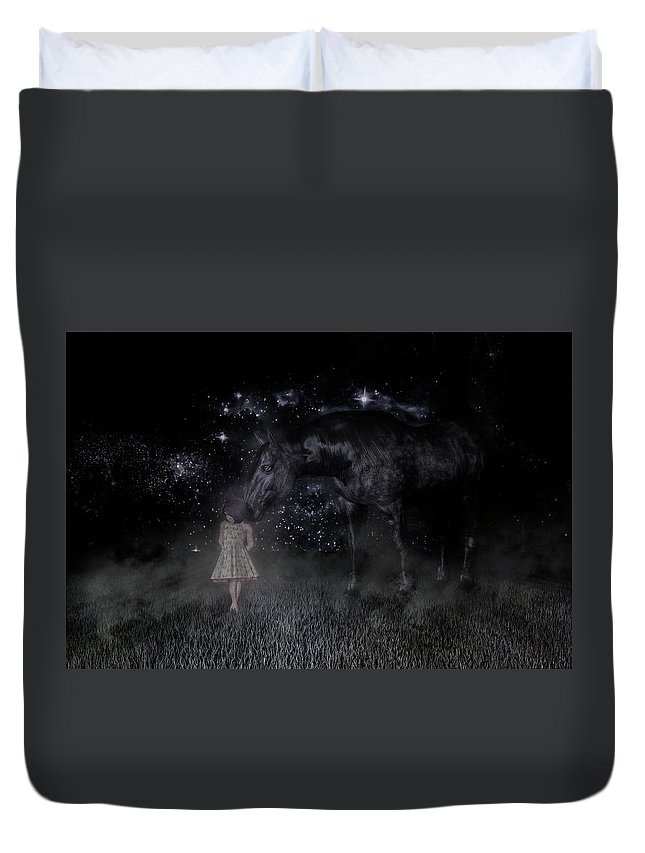 Horse Duvet Cover featuring the digital art Thinking Of You by Betsy Knapp
