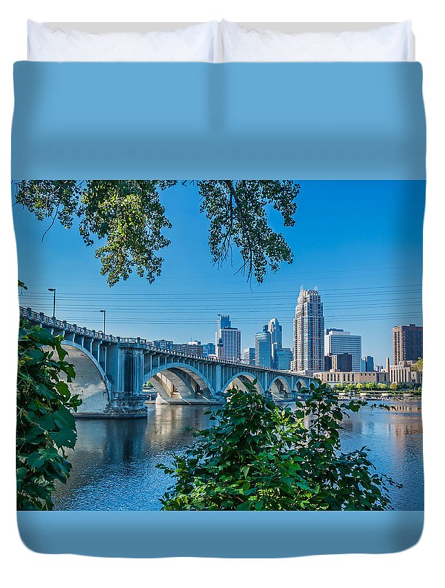 Third Avenue Bridge; Bridge; Mississippi River; St. Anthony Riverplace; Minneapolis Duvet Cover featuring the photograph Third Avenue Bridge Over Mississippi River by Lonnie Paulson