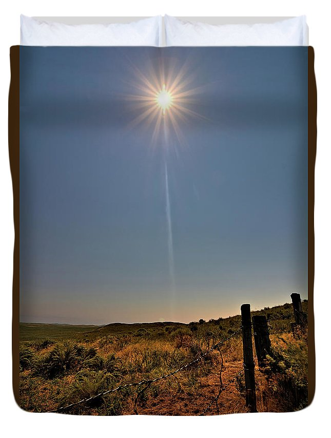 Eclipse Duvet Cover featuring the photograph Third Contact by Bonfire Photography