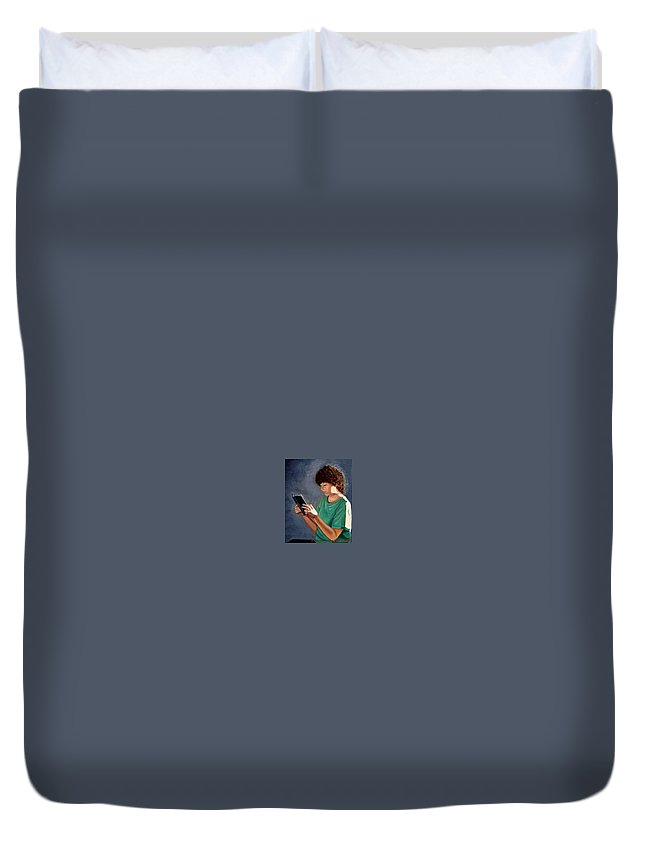 Portrait Duvet Cover featuring the painting Thirst for Knowledge by Toni Berry