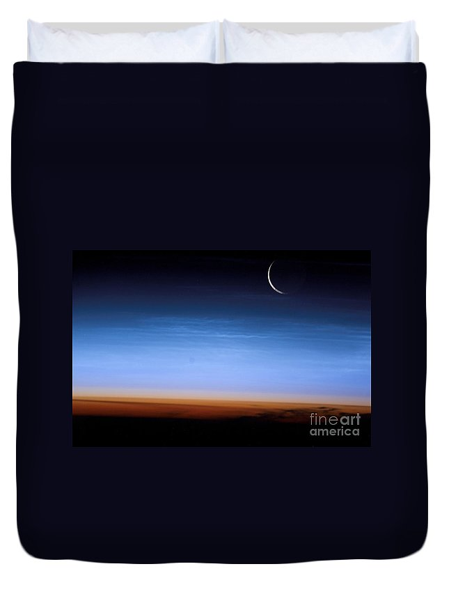 Color Image Duvet Cover featuring the photograph This Image Shows The Limb Of The Earth by Stocktrek Images