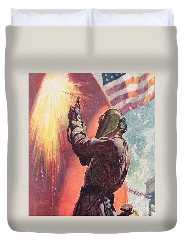 Welder Duvet Cover featuring the painting This Is Your Firing Line Dont Slow Up The Ship by American School