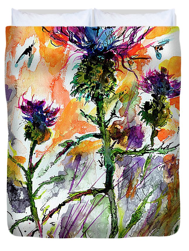 Thistles Duvet Cover featuring the painting Thistles And Bees Watercolor And Ink by Ginette Callaway