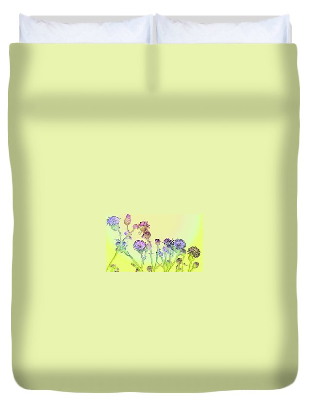 Thistles Duvet Cover featuring the digital art Thistles Under The Sun by Ian MacDonald
