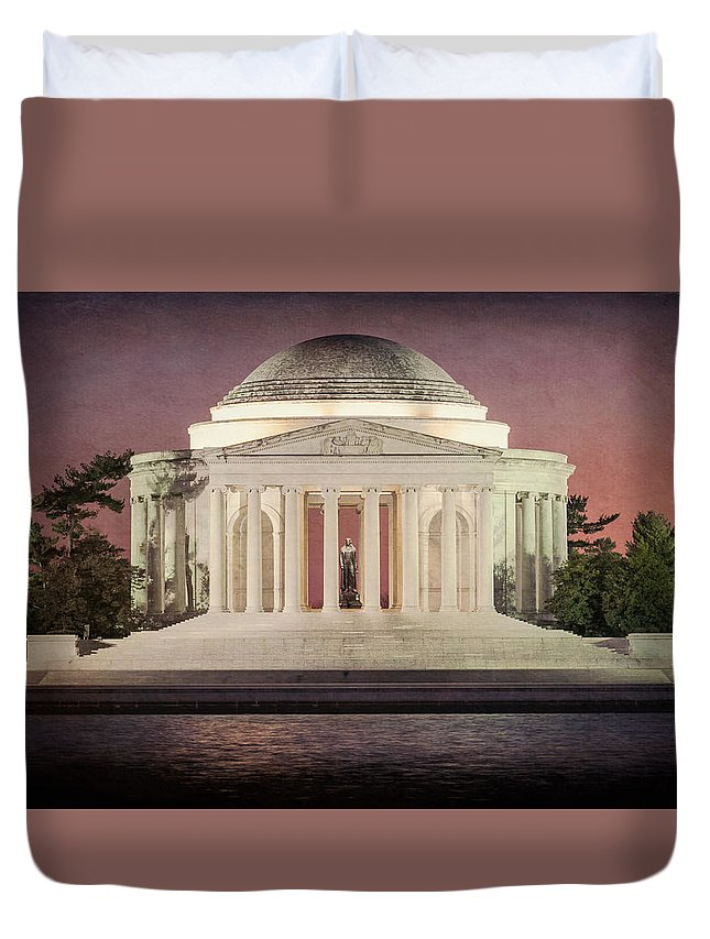 Thomas Jefferson Memorial Duvet Cover featuring the photograph Thomas Jefferson Memorial At Sunset Artwork by Robert Barnes