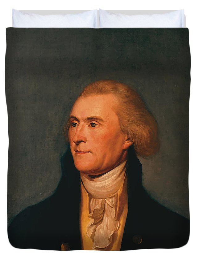 Thomas Jefferson Duvet Cover featuring the painting Thomas Jefferson by War Is Hell Store