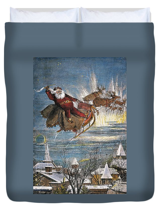 19th Century Duvet Cover featuring the photograph Thomas Nast: Santa Claus by Granger