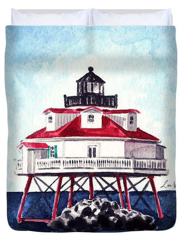 Thomas Point Duvet Cover featuring the painting Thomas Point Shoal Lighthouse Annapolis Maryland Chesapeake Bay Light House by Laura Row