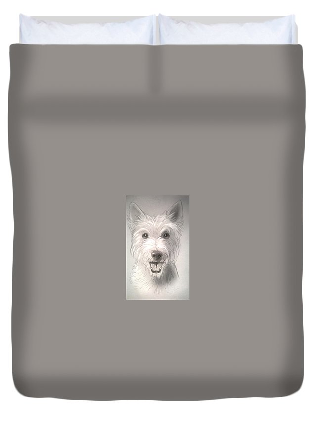 Dog Duvet Cover featuring the drawing Thor The Westie by Shaza D