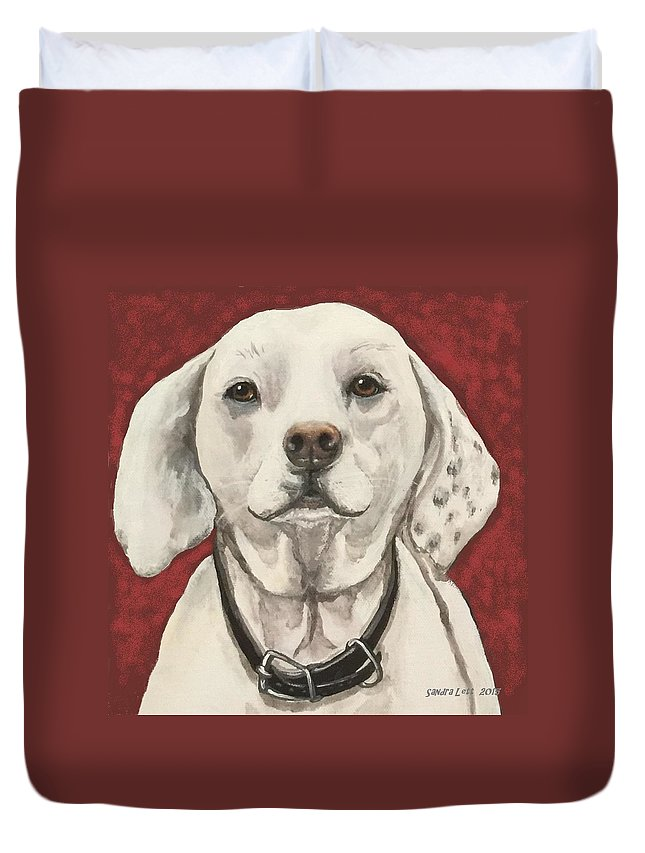 Dog Duvet Cover featuring the painting Thoreau by Sandra Lett