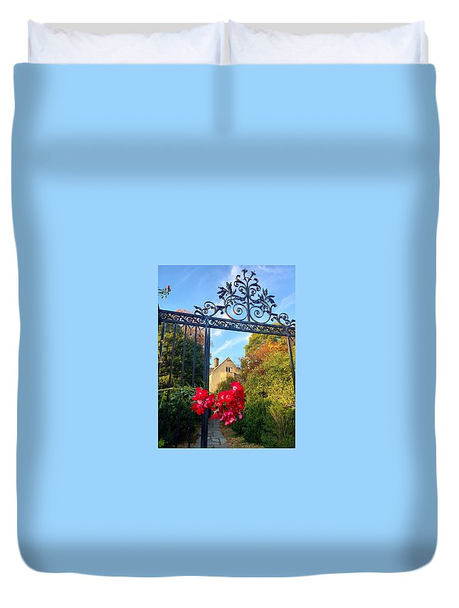 Rose Duvet Cover featuring the photograph Thorn Gate by Eric Siegel