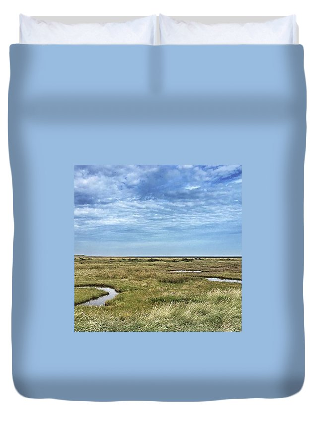 Duvet Cover featuring the photograph Thornham Marshes, Norfolk by John Edwards