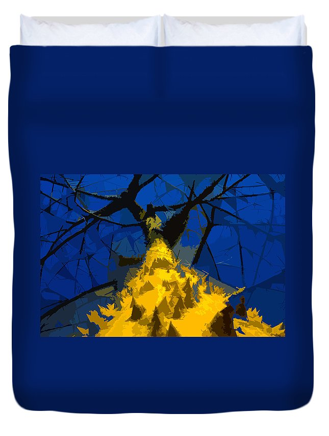 Blue Sky Duvet Cover featuring the painting Thorny Tree Blue Sky by David Lee Thompson
