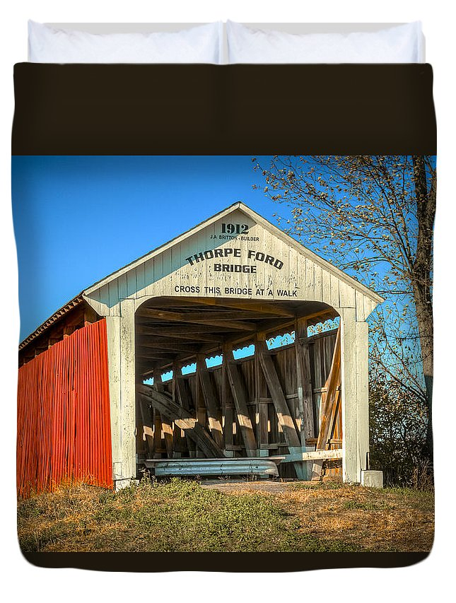 America Duvet Cover featuring the photograph Thorpe Ford Covered Bridge by Jack R Perry