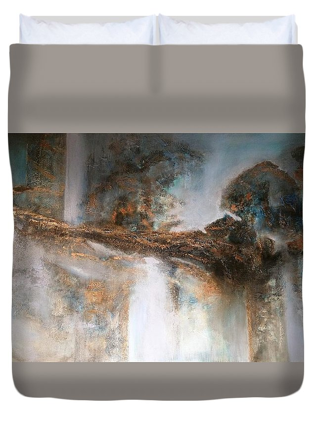 Thor's Hammer. Original Acrylic Painting On Canvas With Texture Duvet Cover featuring the painting Thor's Hammer by Adrianna Tarsha - McMillan