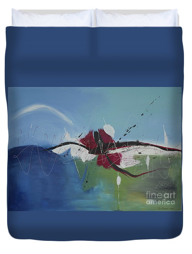 Abstract Duvet Cover featuring the painting Thought by Ans Hasenaar