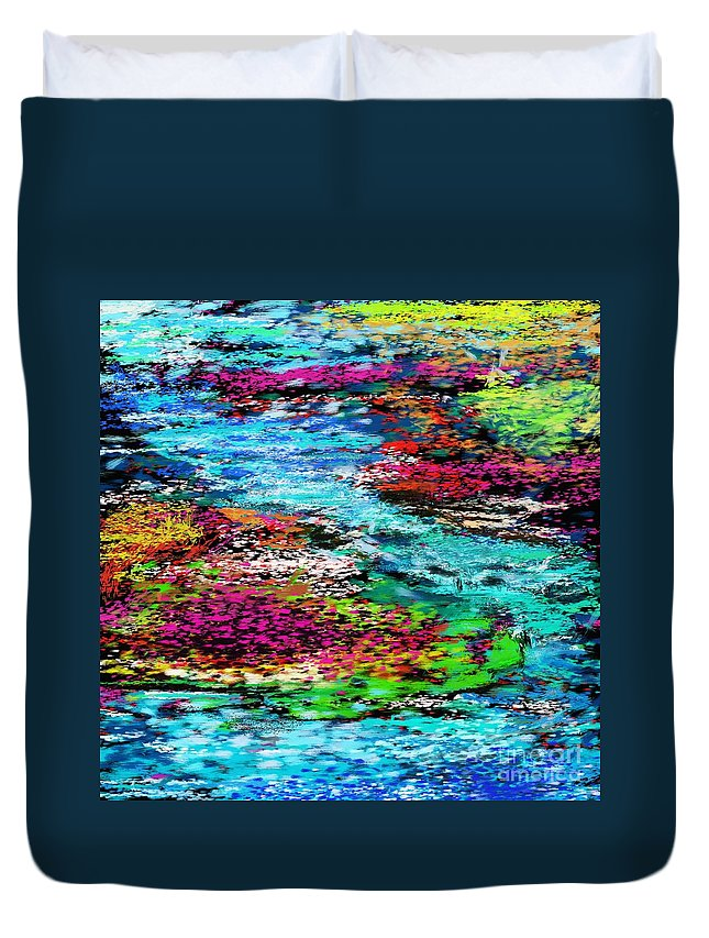 Abstract Duvet Cover featuring the digital art Thought Upon A Stream by David Lane