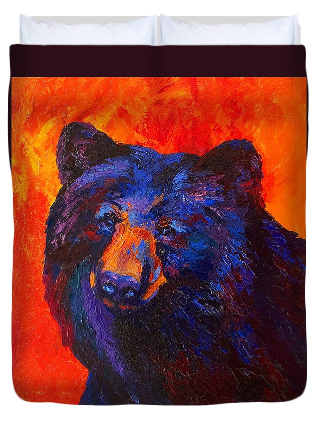 Bear Duvet Cover featuring the painting Thoughtful - Black Bear by Marion Rose