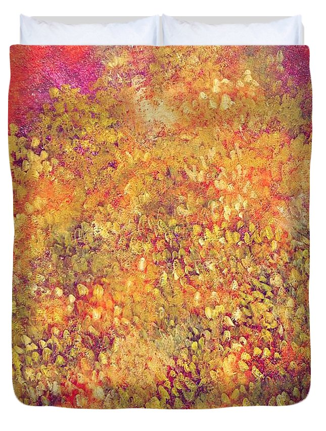Bright Duvet Cover featuring the painting Thousand Happiness Chrysanthemums by Ruth Drayer