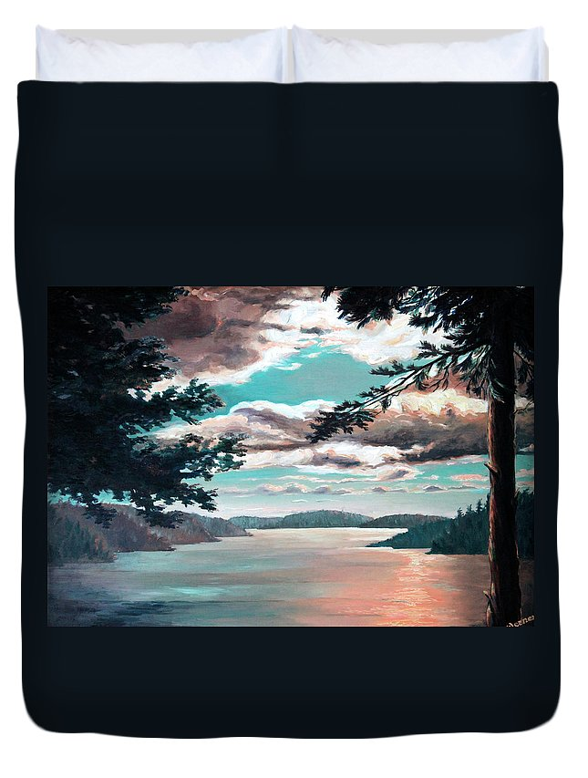 Thousand Island Cruise Duvet Cover featuring the painting Thousand Island Sunset by Hanne Lore Koehler