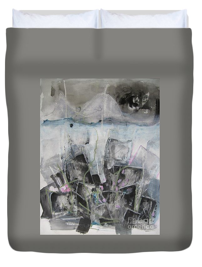 Cemetery Duvet Cover featuring the painting Three Arms by Seon-Jeong Kim