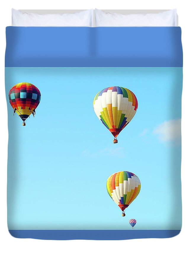 Hot Air Balloons Duvet Cover featuring the photograph Three Balloons by Linda Cupps