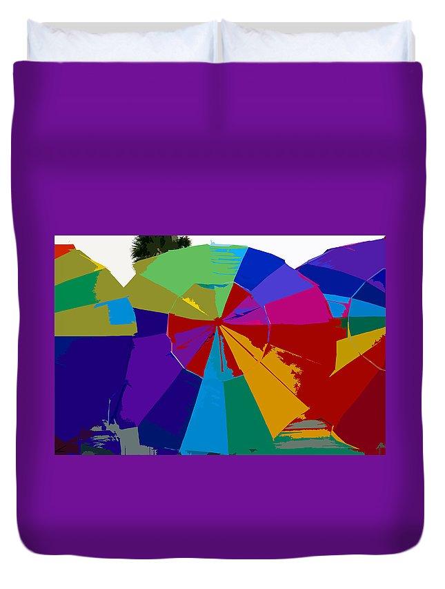 Beach Duvet Cover featuring the painting Three Beach Umbrellas by David Lee Thompson