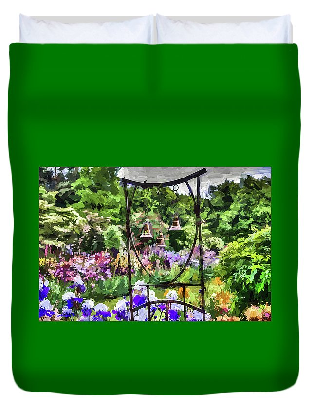Digital Painting Duvet Cover featuring the photograph Three Bells by Thom Zehrfeld