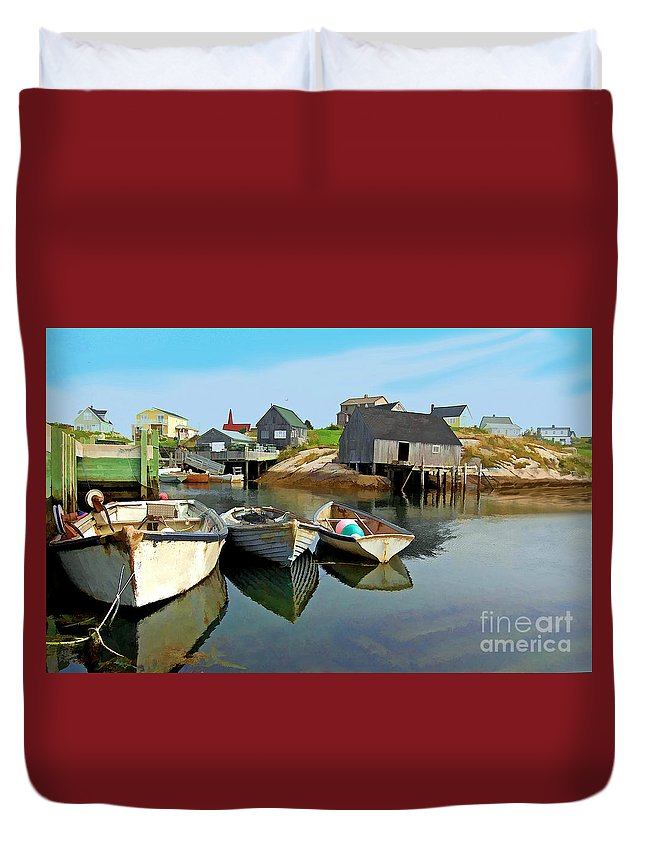 Boats Duvet Cover featuring the photograph Three Boats At Peggys Cove by Kevin J McGraw