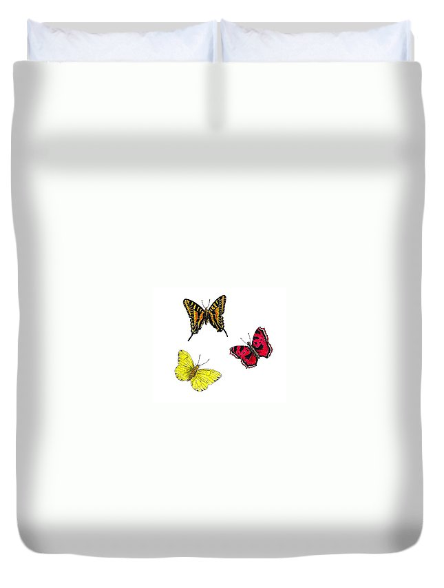 Butterfly Duvet Cover featuring the painting Three Butterflies by Michael Vigliotti