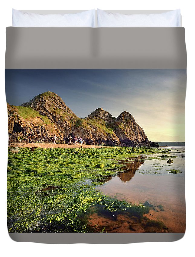 Three Cliffs Duvet Cover featuring the photograph Three Cliffs Bay 3 by Phil Fitzsimmons