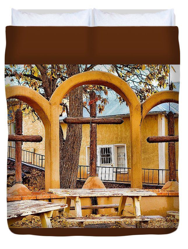 Three Duvet Cover featuring the photograph Three Crosses Of El Santuario De Chimayo by Robert Meyers-Lussier