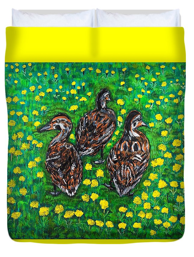 Bird Duvet Cover featuring the painting Three Ducklings by Valerie Ornstein