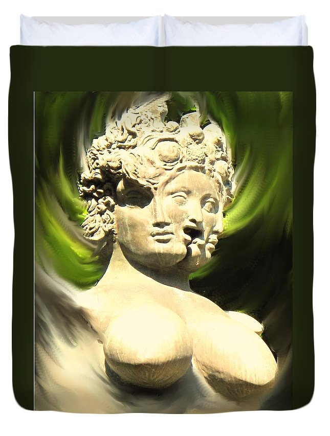Abstract Duvet Cover featuring the photograph Three Faced Statue by Ian MacDonald